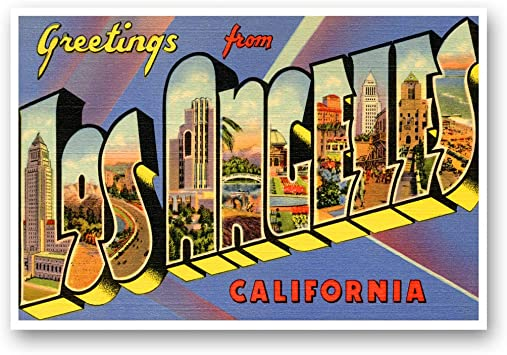 Amazon Com Greetings From Los Angeles Ca Vintage Reprint Postcard Set Of 20 Identical Postcards Large Letter Los Angeles California City Name Post Card Pack Ca 1930 S 1940 S Made In Usa Office