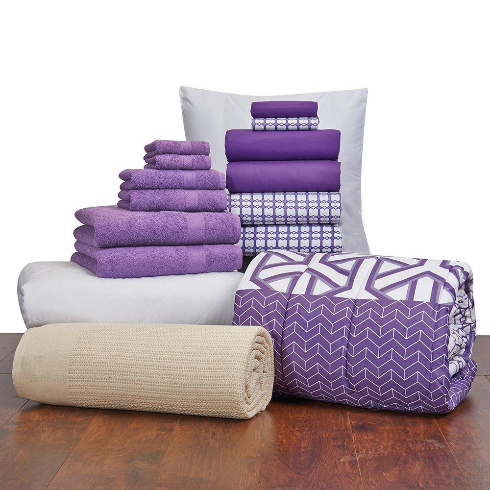 16 Piece Starter Pak Grape Melange Twin XL College Dorm Bedding and Bath Set