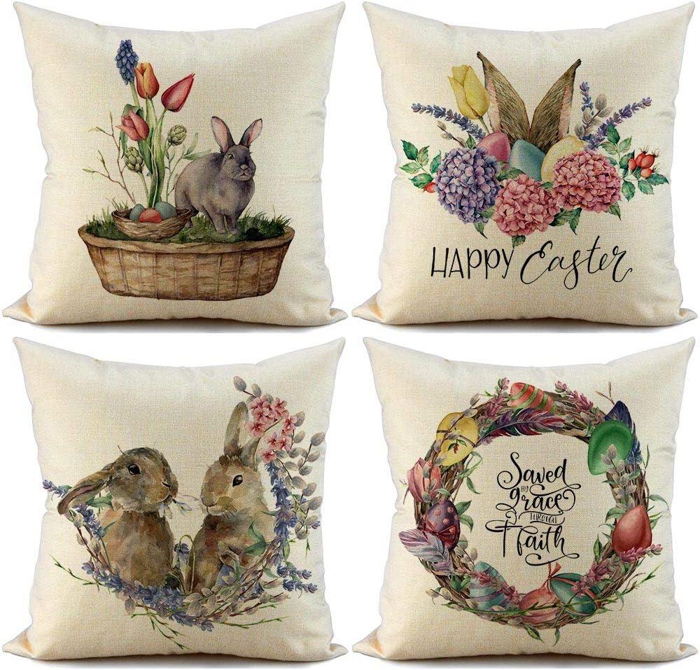 FIBEROMANCE Easter Pillow Covers 18x18 Garden Wreath Easter Egg Happy Easter Bunny Love Home Decorative Throw Pillow Covers Farmhouse Décor Cushion Cover Pillow Case Spring Home Decoration Set of 4…