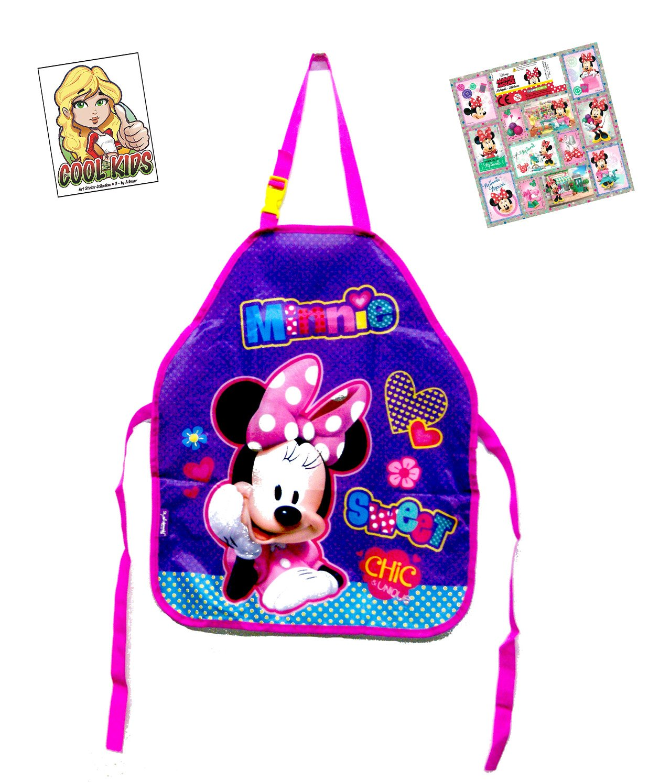 2 tlg. Minnie Mouse Set - Bastelschürze/Kinderschürze/Malschürze/Kochschürze - Motiv: Minnie Mouse + 12 Minnie Mouse Sticker + Art Sticker Nr. 3