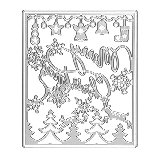 Paper Cutting Dies for Scrapbook, Carbon Steel Merry Christmas Trees ...