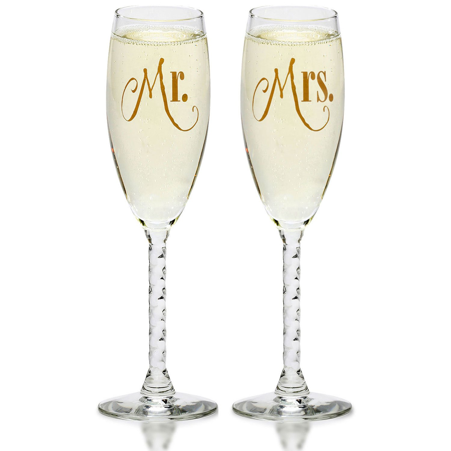Mr. & Mrs. Gold Champagne Flutes - Wedding Glasses For Bride & Groom - Toasting Sets - For Couples - Engagement, Wedding, Anniversary, House Warming, Hostess Gift