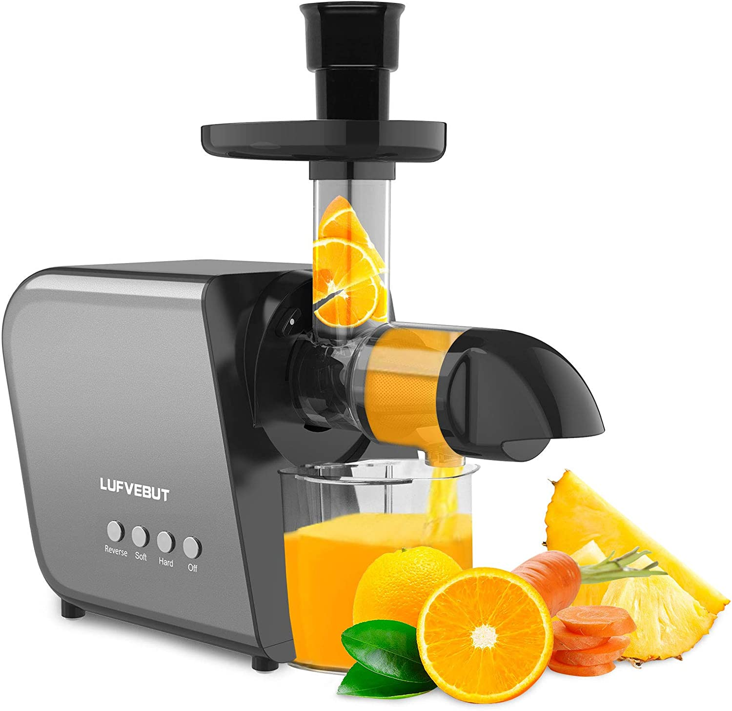 Juicer Machines 2021 Zcgiobn Slow Masticating Chewing Juicer Extractor Cold Press Easy Clean for Wheatgrass Celery Ginger Vegetable Fruit High Juice Yield Reverse Function Auger Quiet Motor