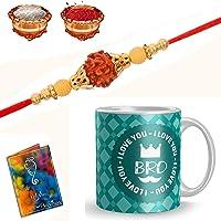 Sinjara Rakhi Gift Mug Multicolor Metal Rakhi for bhaiya bhabhi with Greeting Card Roli Chawal(Combo of 2)