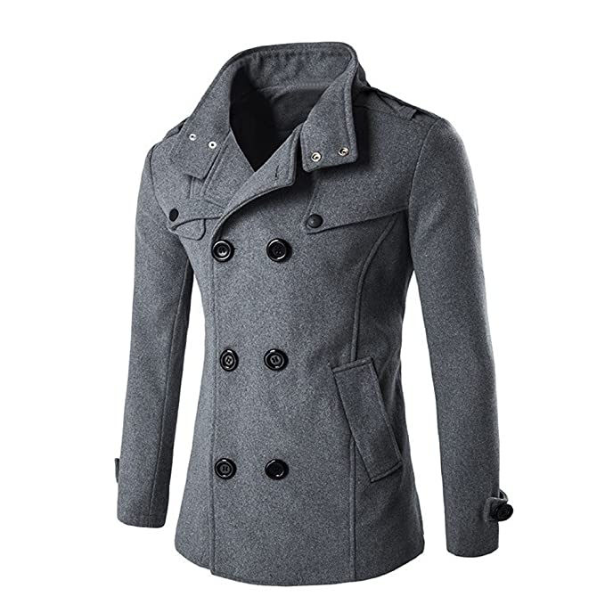 OverDose Hombres Otoño Invierno Doble fila Botón de cuello de lana abrigo suéter Top Blusa (