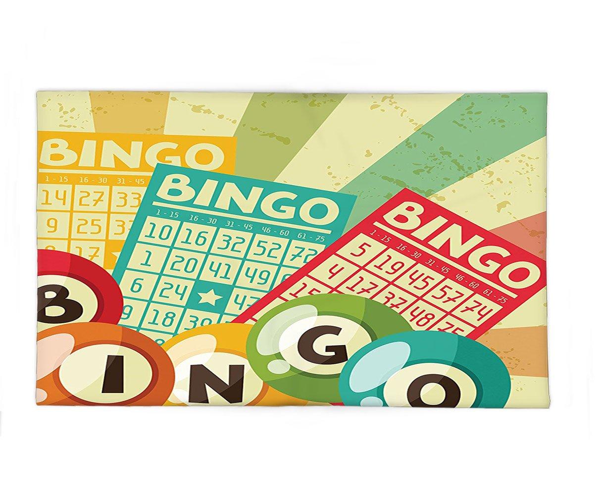 Interestlee Fleece Throw Blanket Vintage Decor Bingo Game with Ball and Cards Pop Art Stylized Lottery Hobby Celebration Theme Multi