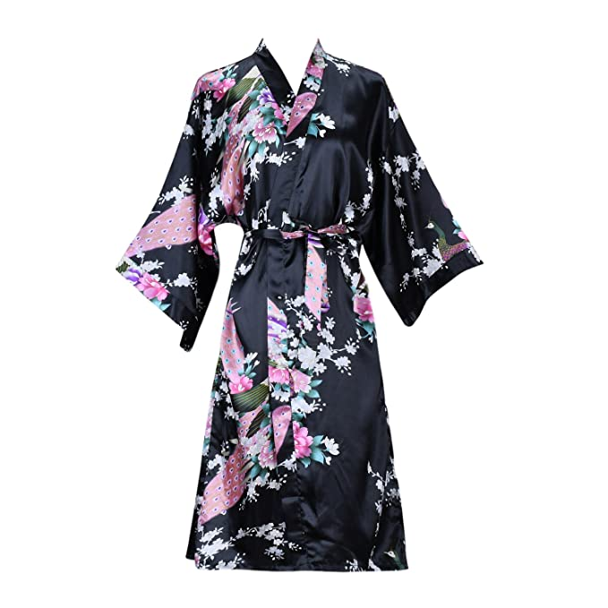 ellenwell Women s Kimono Robe Peacock   Blossoms Satin Nightwear(Small ... d3064bf8b