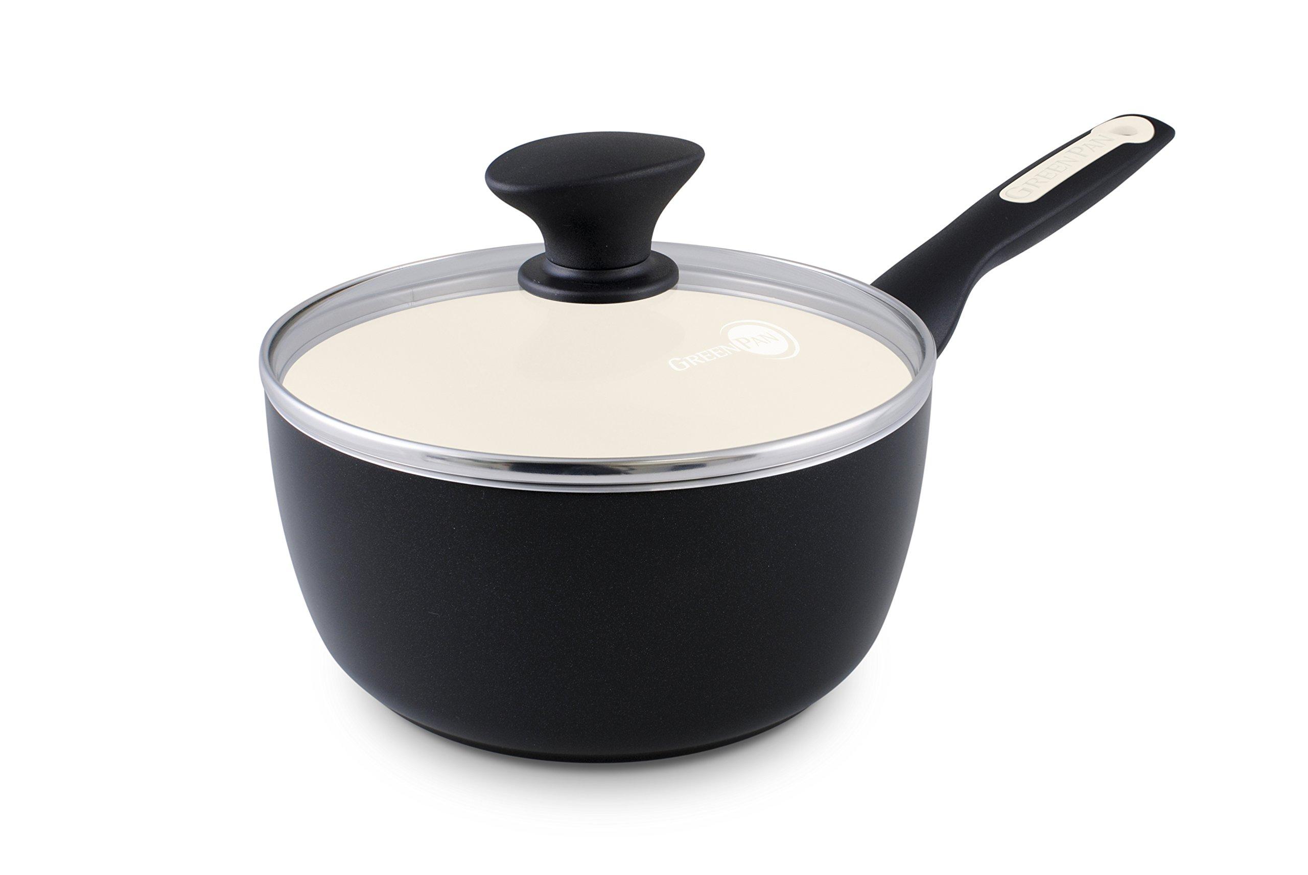 GreenPan Rio 2QT Ceramic Non-Stick Covered Saucepan, Black by GreenPan (Image #1)