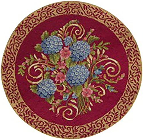 C F Home Hydrangea Bouquet Floral Botanical Garden Spring Easter Summer Handcrafted Premium Decorative Woven Area Rug 3'x3' Red