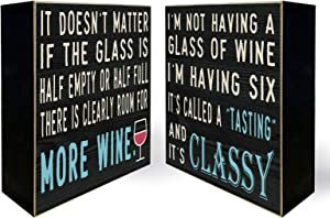 YINUOWEI Funny Wine Sign Decor Rustic Wooden Stand Up Box Sign Classic Wine Signs for Home, Bar, Double Sides Printed - Wine Half Empty, Full/Wine, Tasting, Classy. 6""
