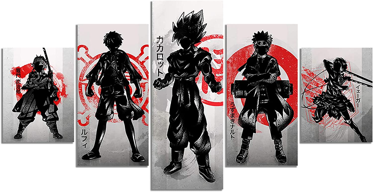 Japanese Anime One Piece Naruto Demon Slayer Poster Luffy Eren Tanjirou HD Print on Canvas Painting Wall Art for Living Room Decor Boy Gift (Unframed, MVP001)