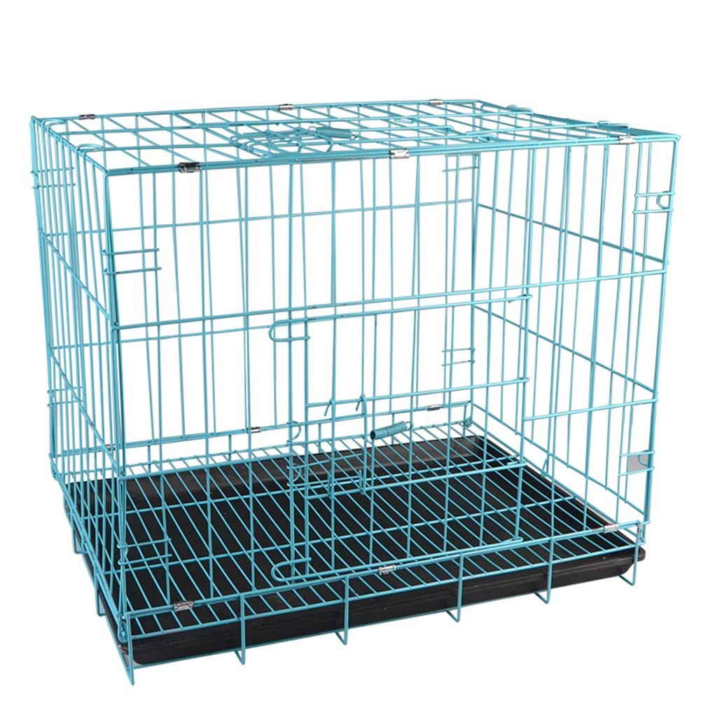 bluee 35cm28cm32cm bluee 35cm28cm32cm XCLLL Pet Fence Folding Pet Cage Iron Wire Rabbit Cage Firm And Durable Cats Skylight Design With Toilet Small Pets Universal Spring Switch,bluee,35Cm28Cm32Cm