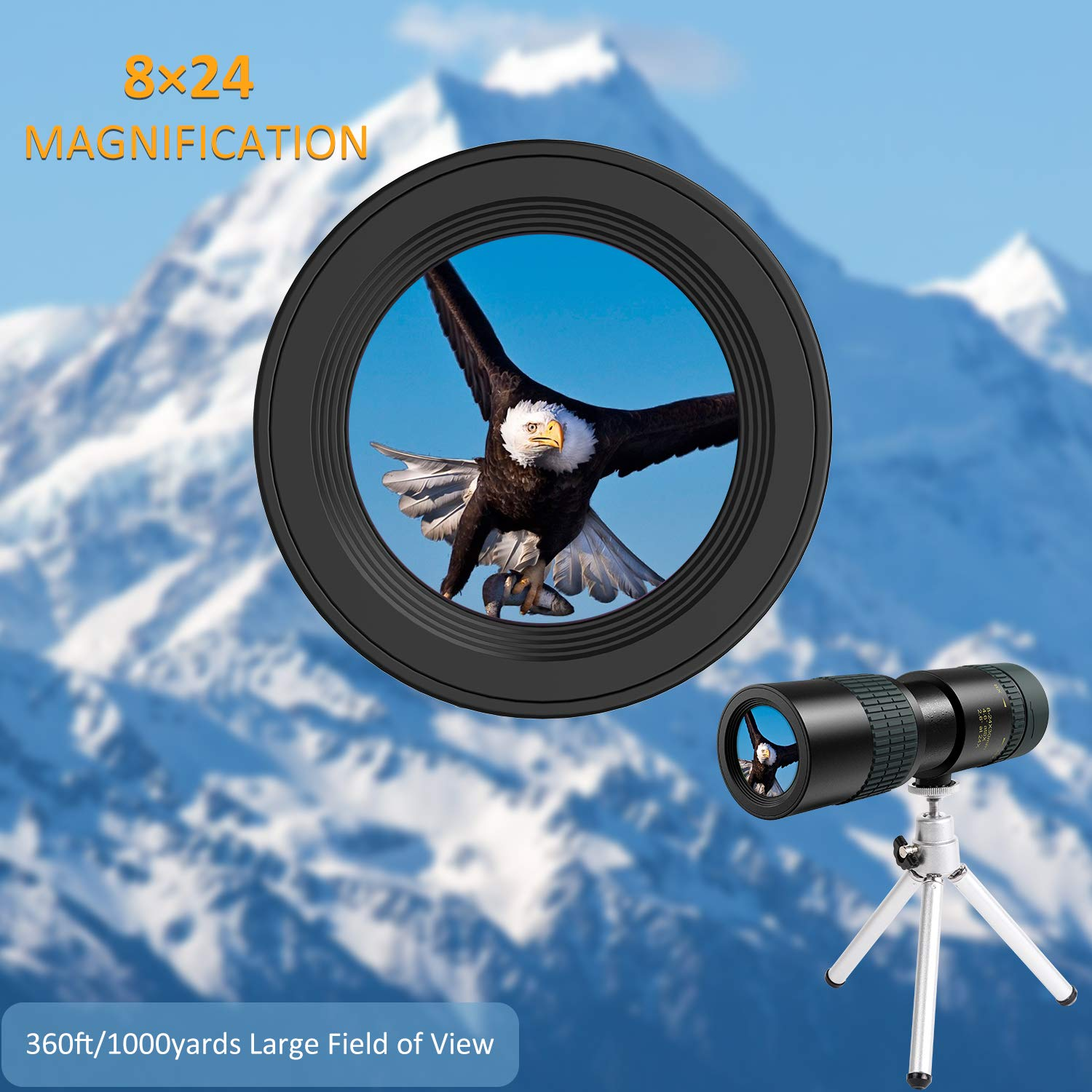 Monocular Telescope for Adults 8-24 30 High Power Monocular with Phone Holder Tripod for Smartphone, Waterproof Monocular with FMC BAK4 Prism 30mm Lens Dual Focus for Night Vision Bird Watching Hunt