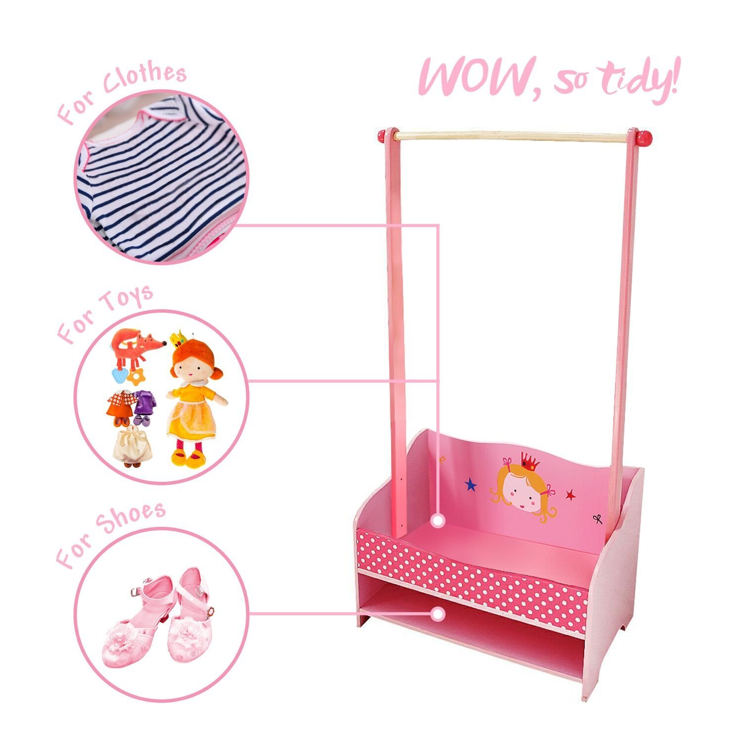 ✦✦✦ Labebe 3-in-1 Pink Baby Clothes Rack, Baby Garment Rack in Wood for Girls of 2-5 Years, Kid Clothes Rack Shelf/Boutique Clothes Rack Organize/Girl Clothes Rack Stand/Storage Rack Clothes