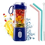 Portable Blender, Vaeqozva USB Rechargeable Smoothie on the Go Blender Cup with Straws, Protein Shakes Fruit Mini Mixer for H