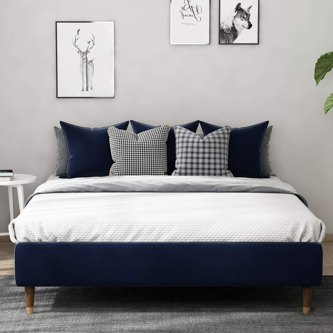 Amolife 13 Inch Upholstered Full Size Platform Bed Frame, Mattress Foundation with Wood Slat Support, Quick and Easy Assembly, Navy Blue Velvet