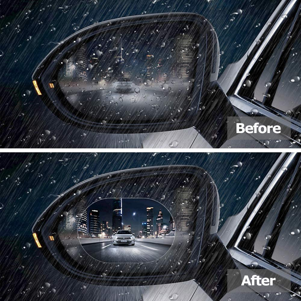 MoKo Rearview Mirror Protective Film, 95mm Car Rear View Mirrors Anti-Fog Waterproof Window Clear Glass Film Rainproof Membrane for All Universal Vehicles Cars SUVs etc 2PCS Round