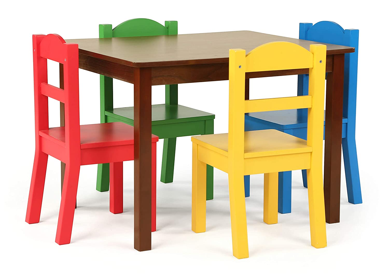 Tot Tutors TC437 Kids Wood Table & 4 Chair Set, Red/Blue/Green/Yellow, Espresso/Primary