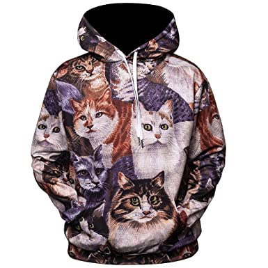 WM & MW Novelty Mens Fashion Hip Hop 3D Printed Cat Hooded Sweatshirt Pullover Hoodie Tops
