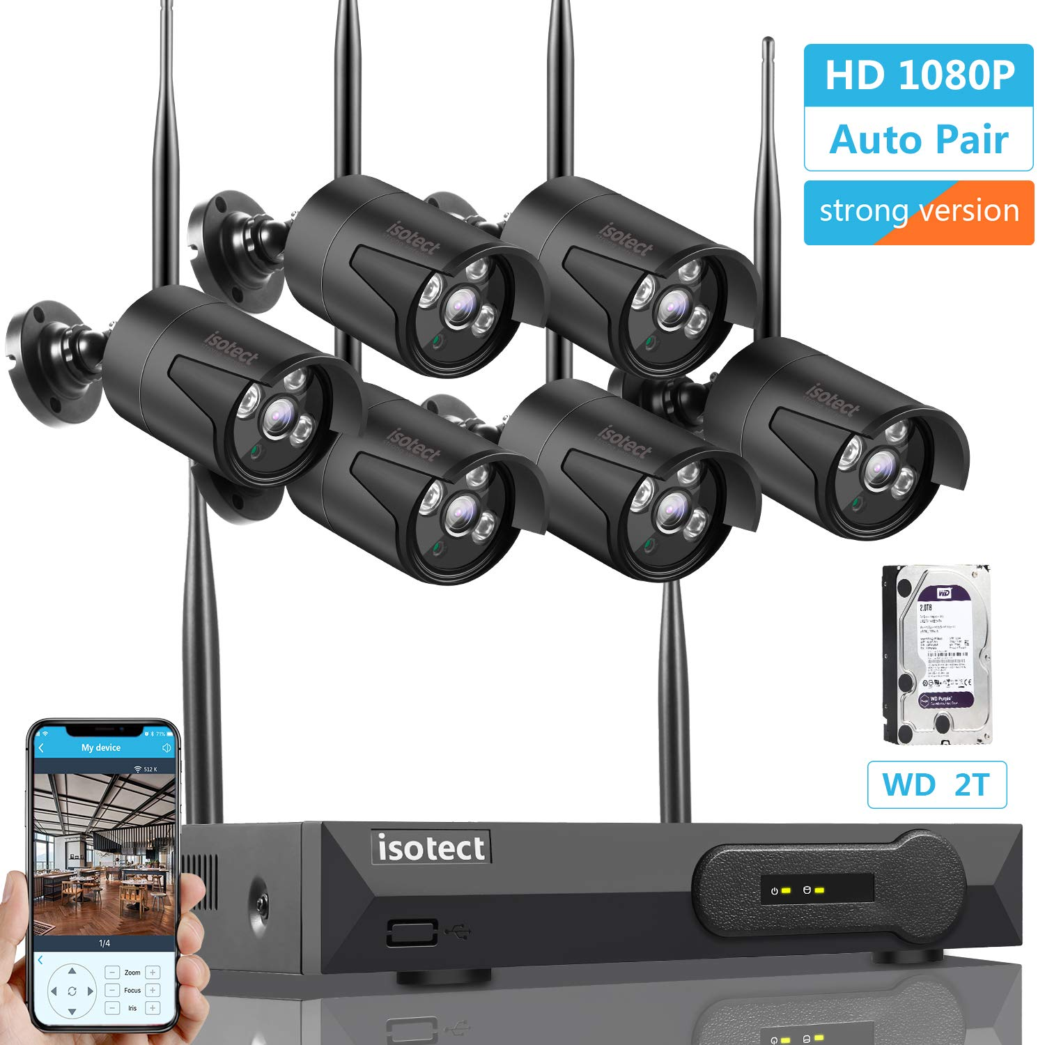 2019 Newest Strong Version Wireless Security Camera System, ISOTECT 8CH Full HD 1080P Video Security System, 6pcs Black Outdoor Indoor IP Cameras, 65ft Night Vision and Easy Remote View, 2TB HDD