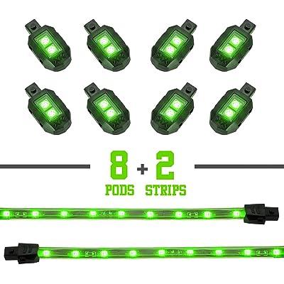 GREEN 8 POD 2 STRIP LED Universal Motorcycle Accent Neon Underglow Light Kit: Automotive