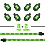 GREEN 8 POD 2 STRIP LED Universal Motorcycle Accent Neon Underglow Light Kit