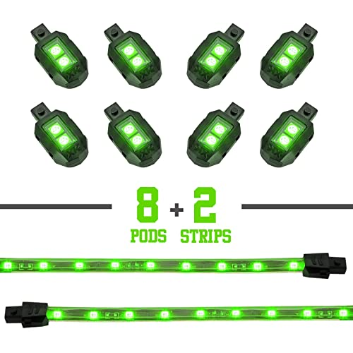 GREEN 8 POD 2 STRIP LED Universal Motorcycle Accent Neon Underglow Light Kit