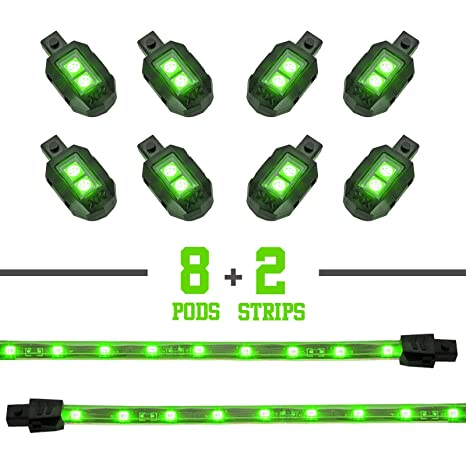 Amazon Green 8 Pod 2 Strip Led Universal Motorcycle Accent Neon