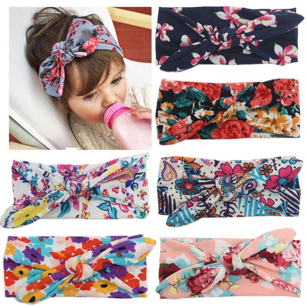 Fashion Story 6PC Elastic Hair Bow Photography Baby Girl Headband Head Wrap Knotted 05C0035-6pcs