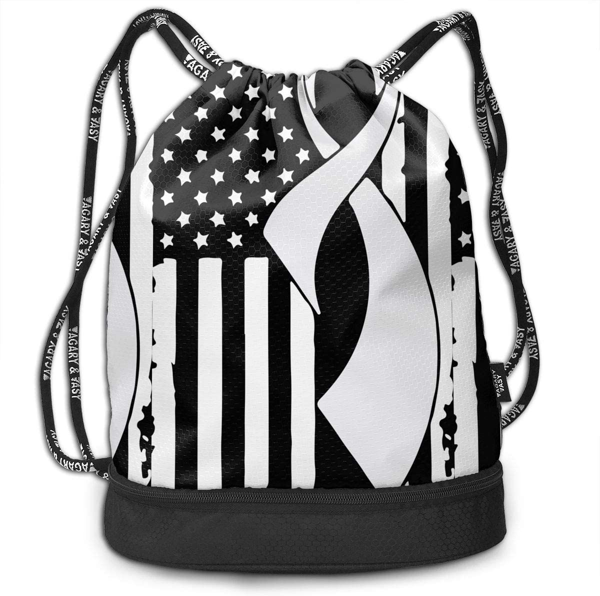 Lung Cancer Awareness Flag-1 Drawstring Bag Multifunctional String Backpack Custom Cinch Backpack Sport Gym Sack