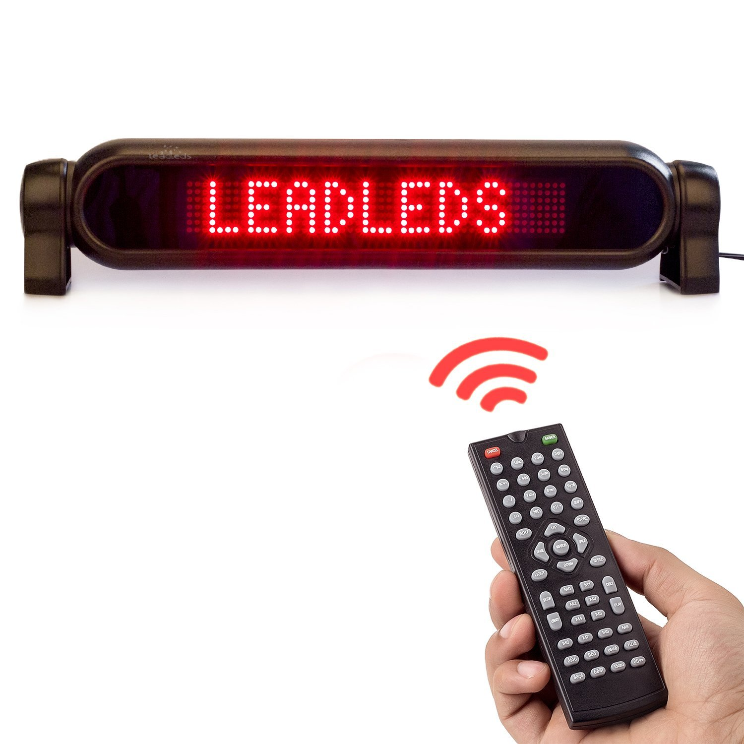 Leadleds Dc12v Led Car Rear Window Sign Board Scrolling Running Lights Electronics Project Red Message Display Banner With Remote Controller And Cigar Lighter Fast