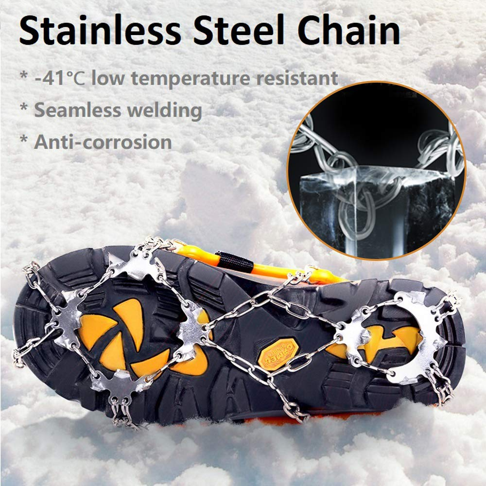 Climbing Snowshoe Chain Tracks Cycolrd Crampons for Hiking Boots not original Yaktrax Kahtoola Ice Snow Spikes Shoes Grip Cycorld Crampons Traction Ice Cleats with 18 Teeth Stainless Steel