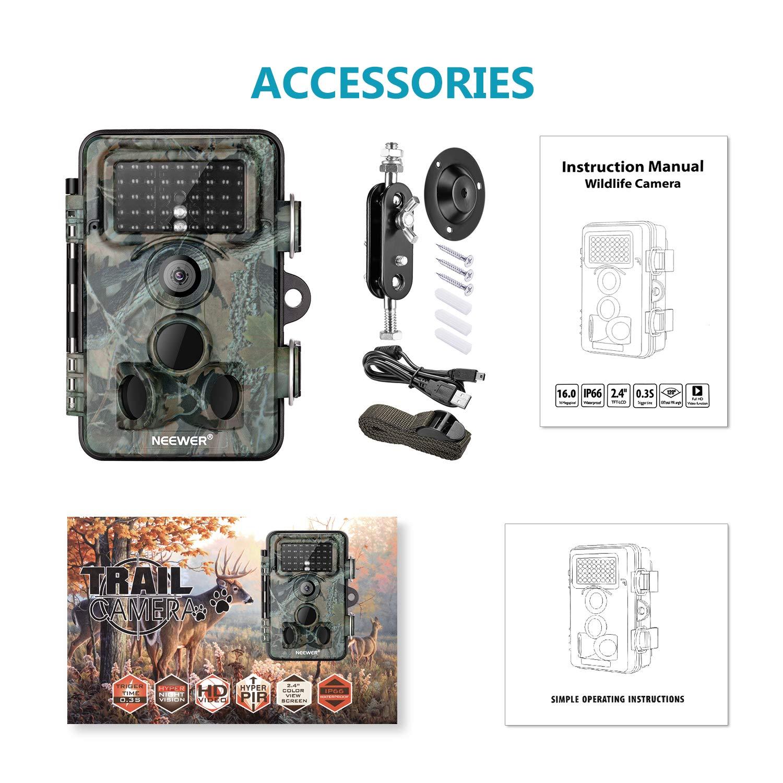 Neewer Jagd Kamera 16MP 1080P HD Digital wasserdicht Jagd Suche Cam 120/° Weitwinkelobjektiv mit 0,3 s Ausl/ösegeschwindigkeit Bewegungsaktivierte Nachtsicht