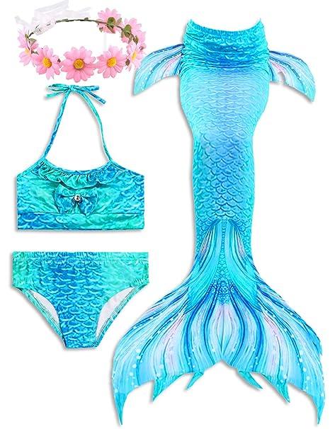 ONMet 2019 Verano Sirena Más Reciente de Las alas de Natación Traje de Baño de Niñas Traje de Baño 3 Piezas Conjunto de Bikini