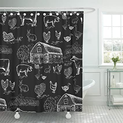 Emvency Shower Curtain Vintage Farm Animals Chalkboard Style Cows Geese Chickens Pigs Turkey House Butcher Engraving