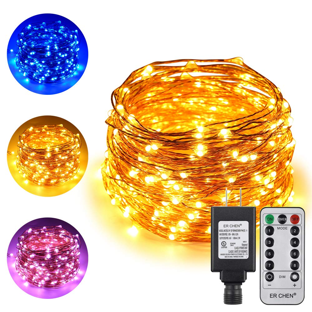 ErChen Dual Color LED String Lights 66 FT 200 LEDs Plug in Copper Wire Color Changing 8 Modes Dimmable Fairy Lights with Remote Timer for Indoor Outdoor Christmas Blue Warm White