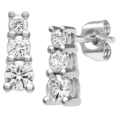 Naava Women's 9 ct White Gold 0.10 ct Diamond Fancy Earrings U4VcgP