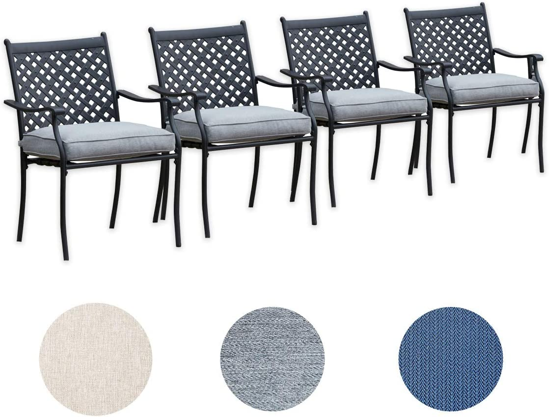Top Space 4 Piece Metal Outdoor WroughtIronPatioFurniture,Dinning Chairs Set with Arms and Seat Cushions(4 PC, Grey)