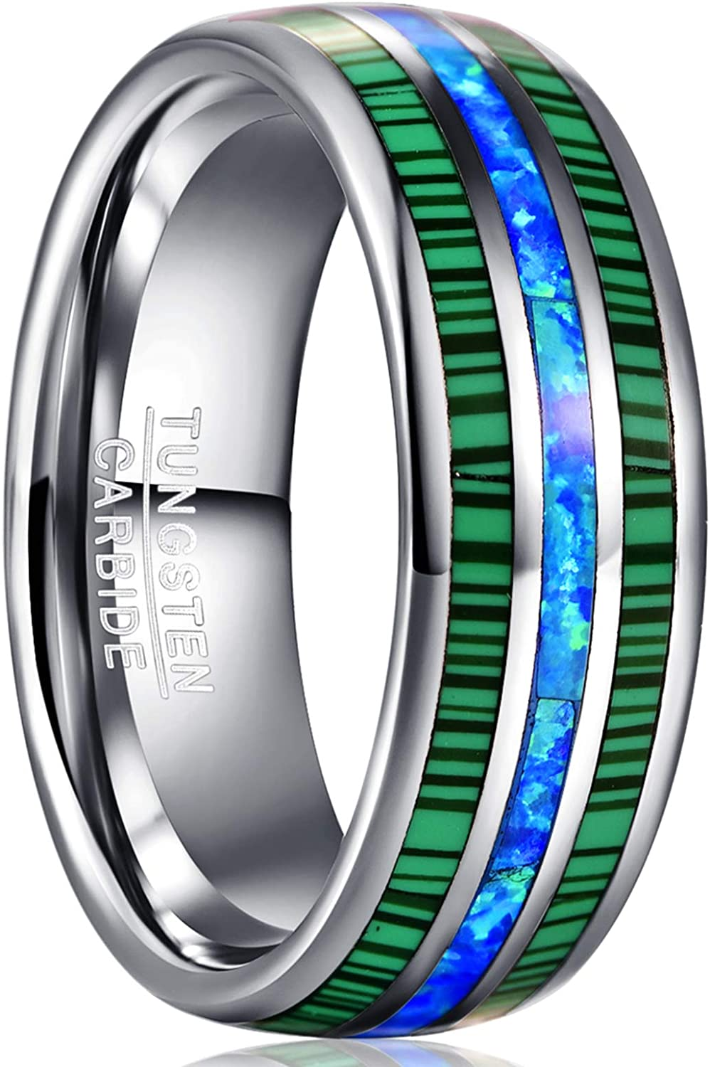 Tungsten Ring with 0.05ct Diamond FREE ENGRAVING  8MM Tungsten Wedding Ring Comfort Fit,Personalize Custom Engrave Tungsten Ring