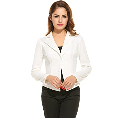 ACEVOG Women's Long Sleeve Solid Casual Work Office Slim One Button Short Blazer at Women's Clothing store