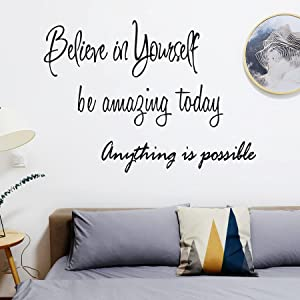 3 Sheets Vinyl Wall Quote Stickers Inspirational Wall Decals Peel and Stick Motivational Decor for Gym Fitness Room Office School Classroom Dorm Room