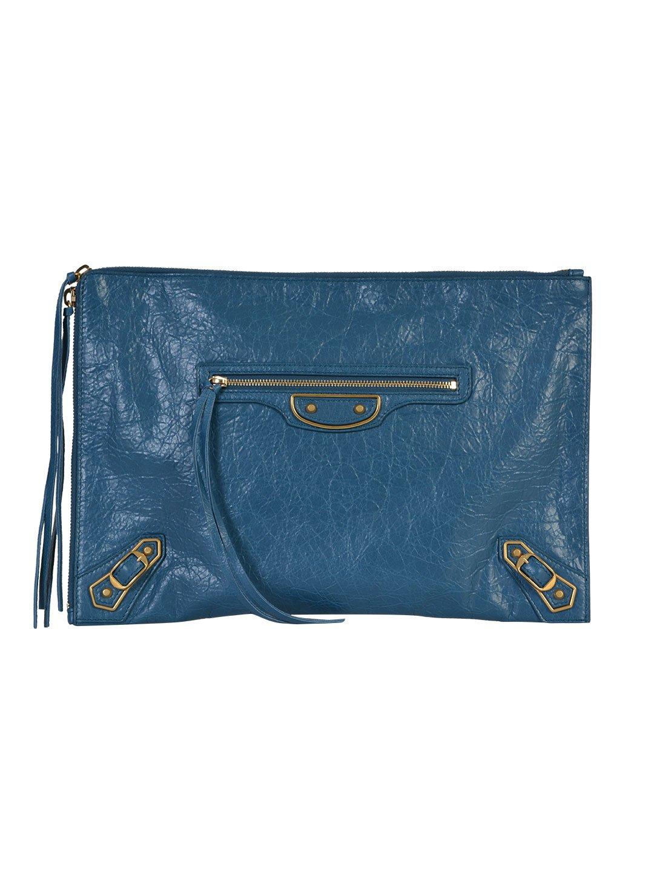 BALENCIAGA WOMEN'S 390186D94IM4135 BLUE LEATHER CLUTCH