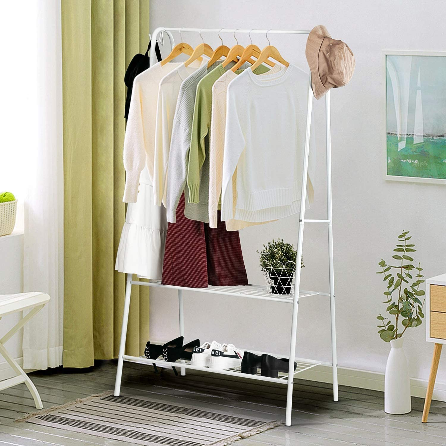 Wardrobe Stand Coat Rack Clothes Stand Hall Stand Metal Shelf White