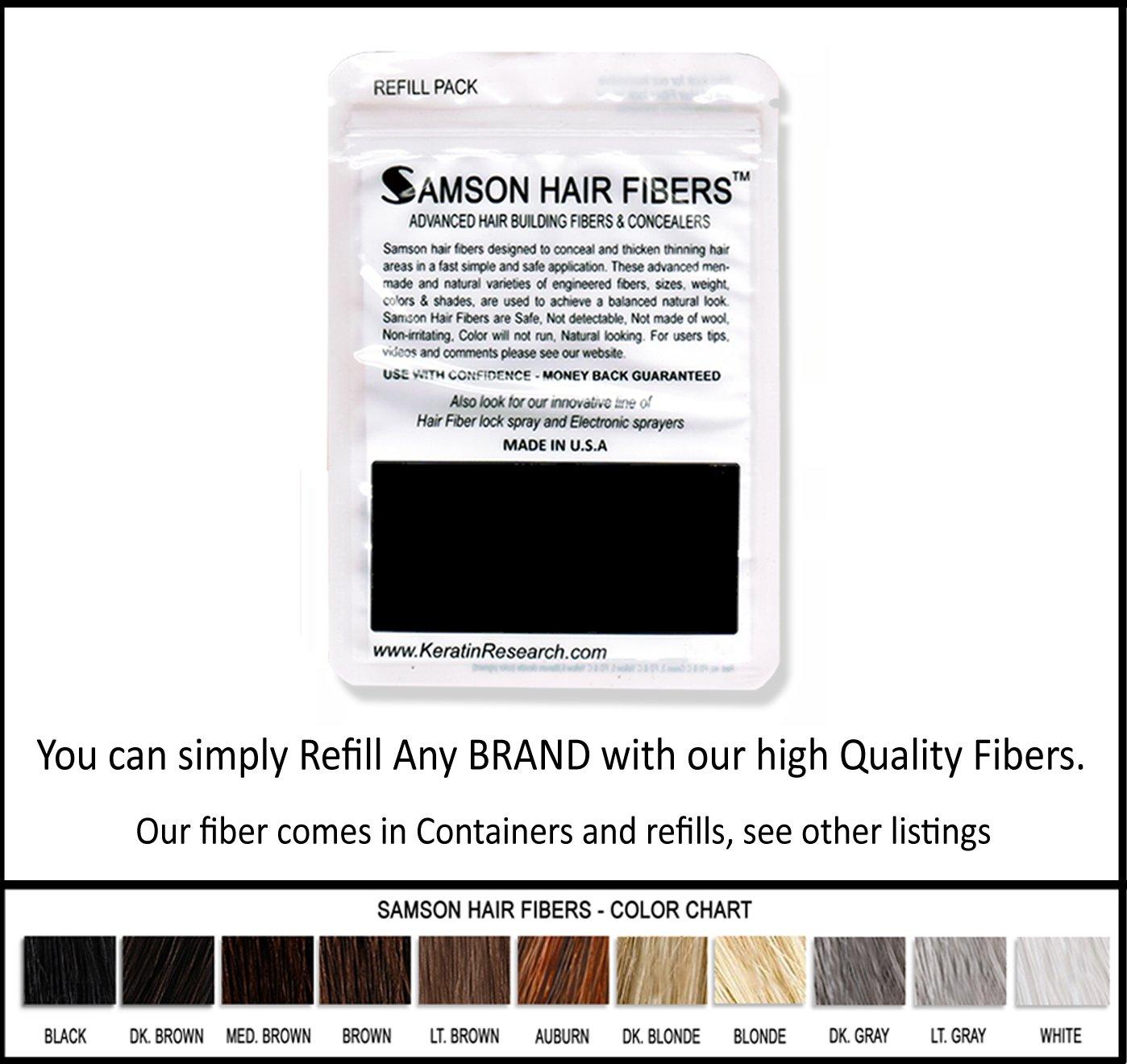 BLACK Hair Fiber Refill kit By Samson Large 25 Grams Made in USA Hair Loss Concealer Keratin Research Inc