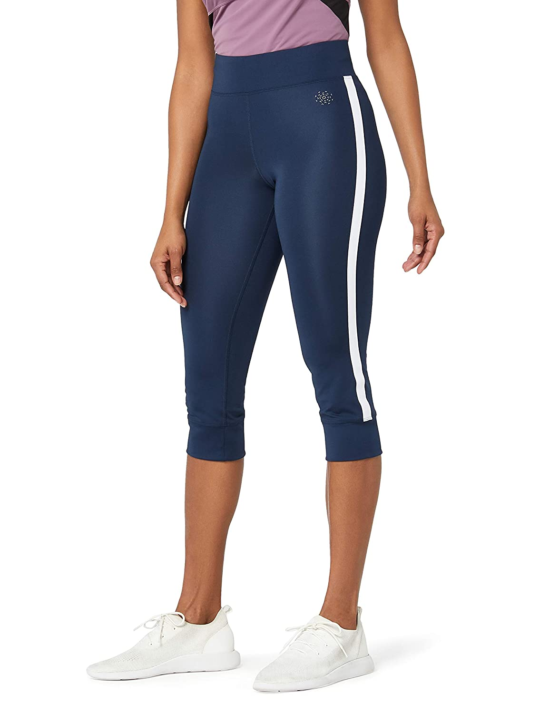 f56542be0f AURIQUE Women's Side Stripe Cropped Sports Leggings: Amazon.co.uk: Clothing