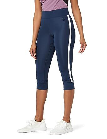 8ed60bf702 AURIQUE Side Stripe Cropped Gym Leggings Women, (Dress Blue), 8 (Size