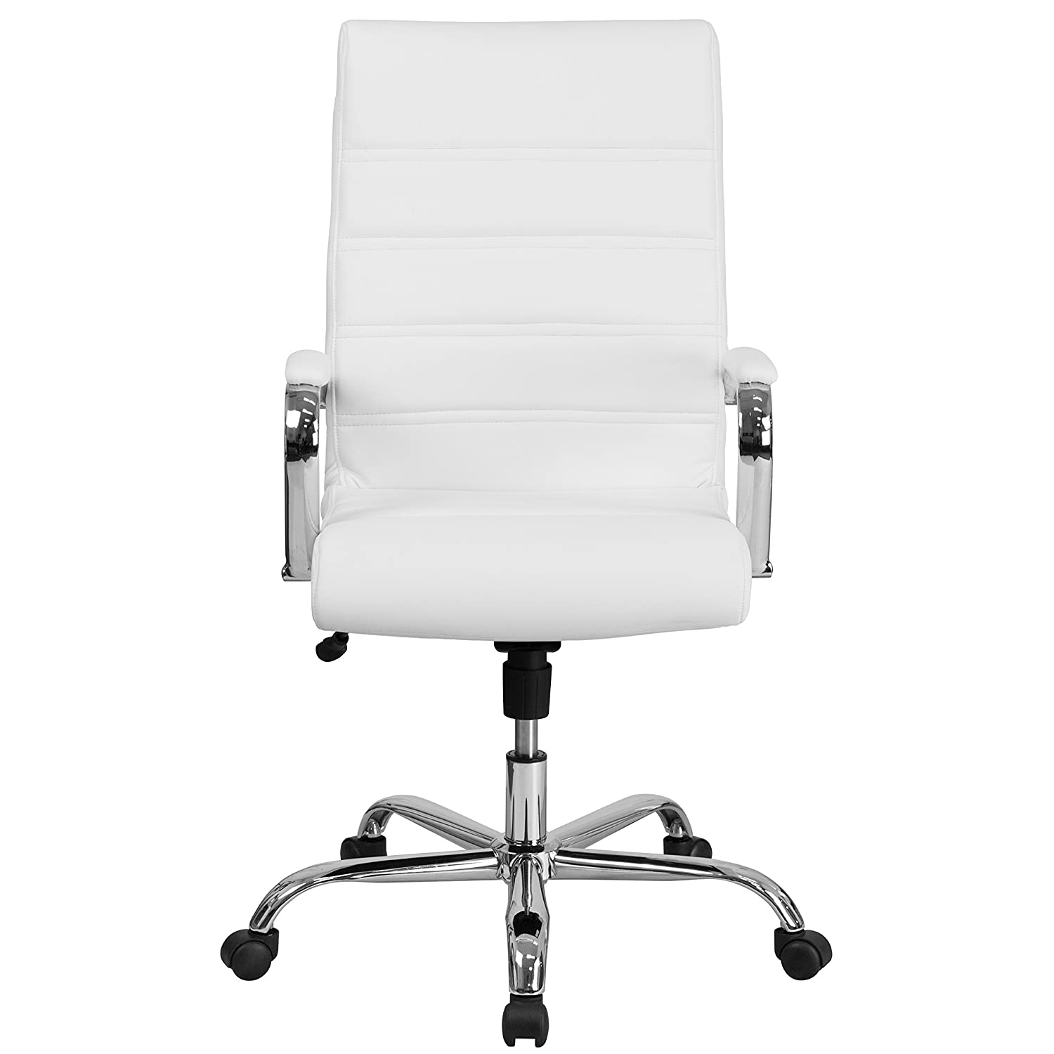 Flash Furniture High Back Office Chair | White LeatherSoft Office Chair  with Wheels and Arms - GO-2286H-WH-GG