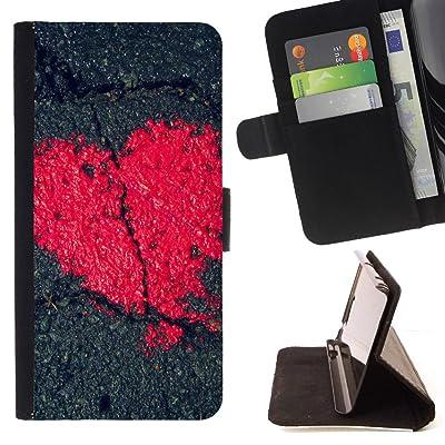 FJCases Amor Corazón Roto Carcasa Funda Billetera con Ranuras para Tarjetas y Soporte Plegable para Samsung Galaxy S8 Active