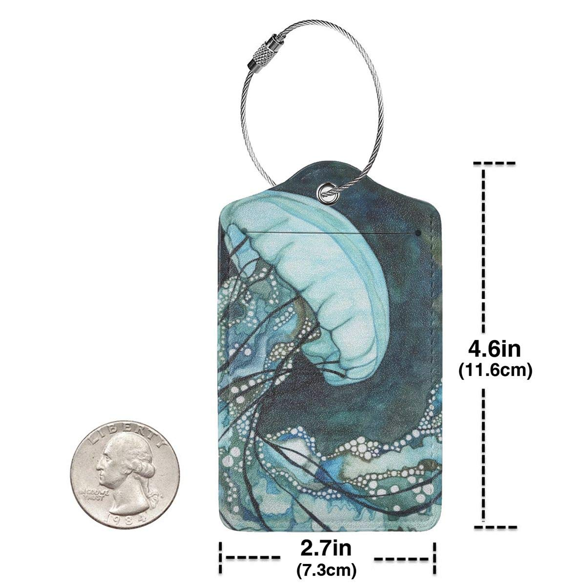 Luggage Tags PU Leather Suitcase Card Tag With Stainless Steel Loop Travel Baggage Handbag Tag Labels Travel Accessories Marine Painting With Mixed Media set of 4