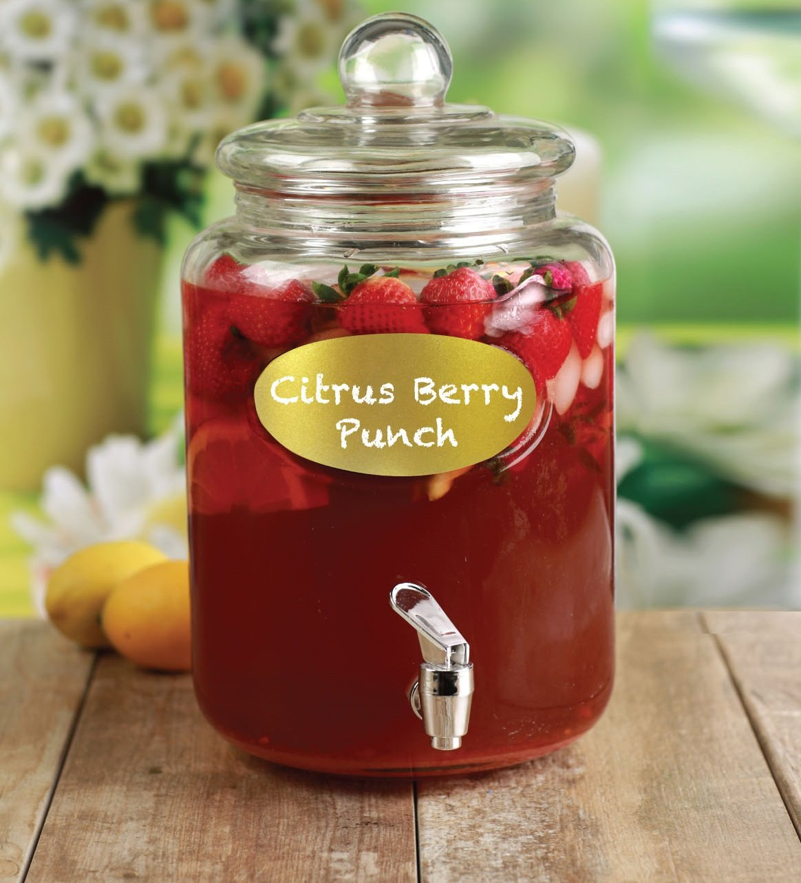 Circleware 67135 Wellington Gold Chalkboard Mason Jar Glass Beverage Drink Dispenser with Lid Glassware for Water, Iced Tea Kombucha, Punch and All Cold 1.5 Gallon